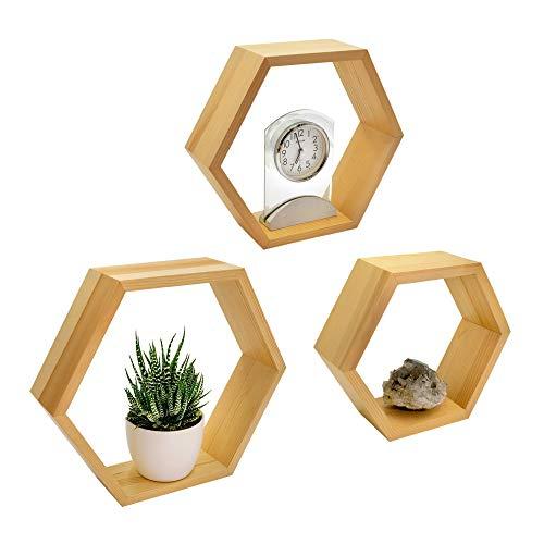 Naumoo - Estantes hexagonales de madera natural, montados en la pared, estantes hexagonales flotantes, decoración de pared geométrica...