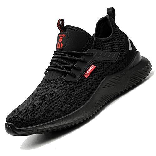 SUADEEX Sicherheitsschuhe Herren Damen Arbeitsschuhe Leicht Sportlich Atmungsaktiv Schutzschuhe Stahlkappe Sneaker,2 Schwarz,45EU