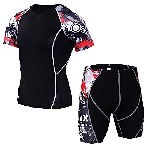Camisa Deportiva Hombre Conjunto De 2 Piezas Transpirable Secado Rápido Camisa Compresión Casual Hombre Camisa Pantalones Cortos Y De Manga Corta Conjunto Deportivo B-Red2 S