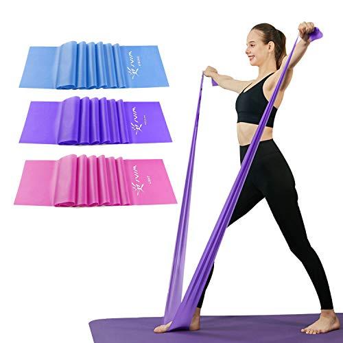 Conjunto de bandas de resistencia terapéutica, sin tex, bandas de estiramiento, flexibilidad, yoga, ballet, gimnasia y rehabilitación, rosa púrpura, azul (3 paquetes, 3 y nbsp; m de largo)
