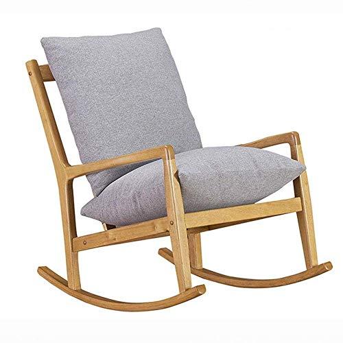WJJJ Nordic Wood Schaukelstuhl, Erwachsener, Einzelsessel, Wohnzimmer, Einzelsessel (Farbe: Graues Kissen)