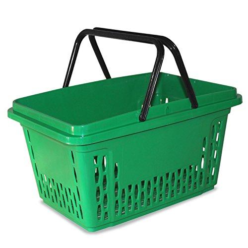 Einkaufskörbe aus Kunststoff mit 2 Bügeln 40 Liter Polypropylen bunte Farbauswahl (1, grün)