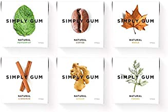 Simply Gum | Chewing Gum | Variety Pack - Peppermint, Cinnamon, Ginger, Fennel, Maple, Coffee | Pack of Six (90 Pieces Total) | Vegan + non GMO