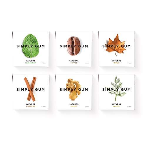 Simply Gum | natürlicher Kaugummi | Vielfaltspack | Pfefferminze, Zimt, Ingwer, Fenchel, Ahorn, Kaffee | Vegan + Non GMO | 15 Stück x 6 Packungen