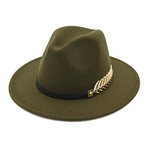 CyFe Vintage Jazz Hut für Herren und Damen, warm, mit breiter Krempe, Metallweizenohren, Dekoration, (55-58 cm) Gr. M, dunkelgrün