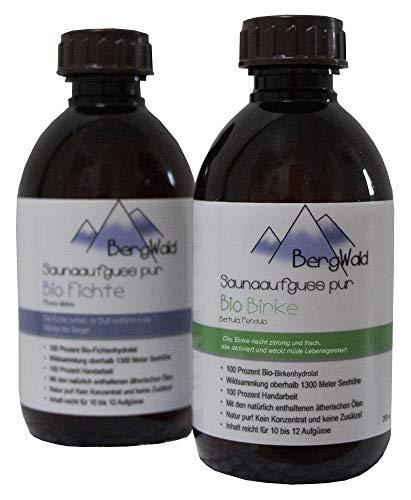 Sauna-Aufguss | 100% bio | Saunaduft mit natürlichen ätherischen Ölen für Saunaaufgüsse | Biozertifiziert aus Wildsammlung | Naturprodukt ohne Zusätze | 250 ml (BergWald Duo (Set))