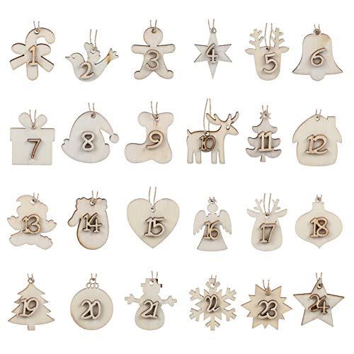 Naler 24 Adventskalender Zahlen Holz Anhänger Holzanhänger Weihnachtsanhänger von 1-24 für Weihnachten zum Basteln und Verzieren