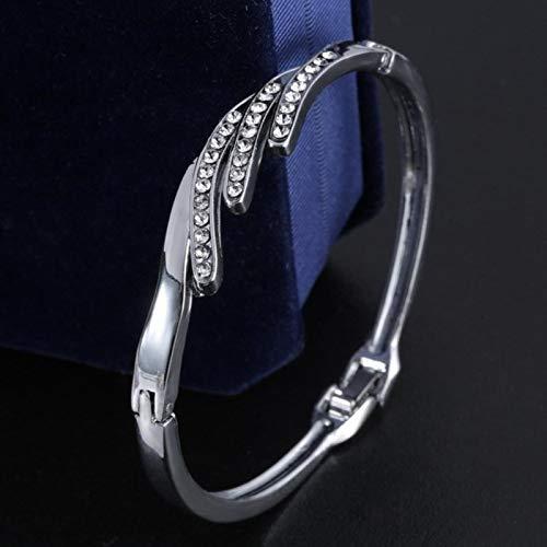 LIUL 12 Estilos Amor corazón Pulseras brazaletes de Tornillo Brazalete de Acero Inoxidable para Mujer Brazalete con Incrustaciones de Diamantes de imitación Regalo, Pulseras de Gemas