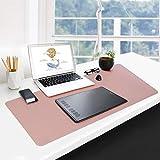 GUBEE PU Cuero Alfombrilla Escritorio de Oficina Multifuncional,Impermeable Antideslizante Anti-Sucio Alfombrilla de ratón para Oficina, hogar y Viajes-Size 800x400x2mm (Rosa)