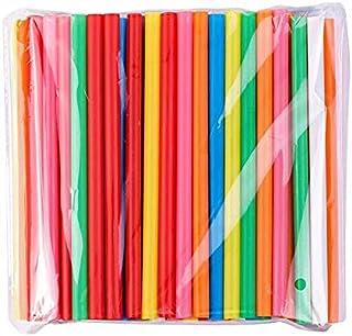 BrightDaily Heldere kleuren herbruikbare Jumbo Smoothie rietjes, dikke rietjes, 100 stuks zeepbel thee rietjes,Plat aan be...