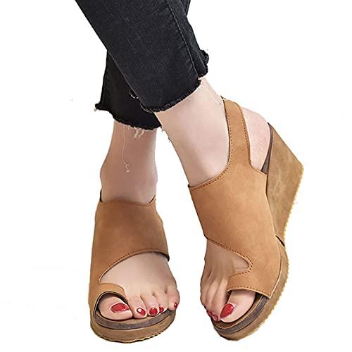 DYHOZZ Sandalias Ortopédicas Correctoras de Juanetes para Mujer Zapatillas de Verano Ortopédicas Cómodas Sandalias de Cuña para Mujer Sandalias de Punta Cerrada Zapatos Casuales de Playa
