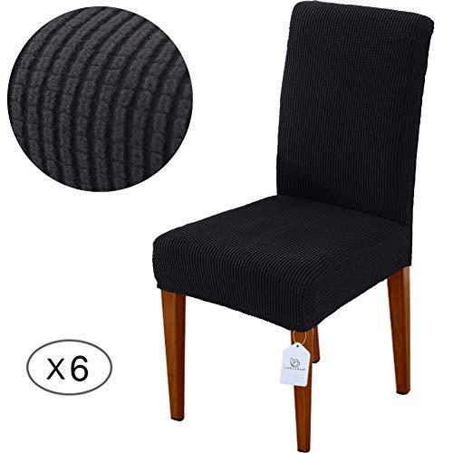 LUOLLOVE Stuhlhussen, Stretch Abnehmbare Waschbar Stuhlbezug für Esszimmerstühle,Stretch Stuhl Mit Gummiband für Esszimmer(6er,Schwarz)