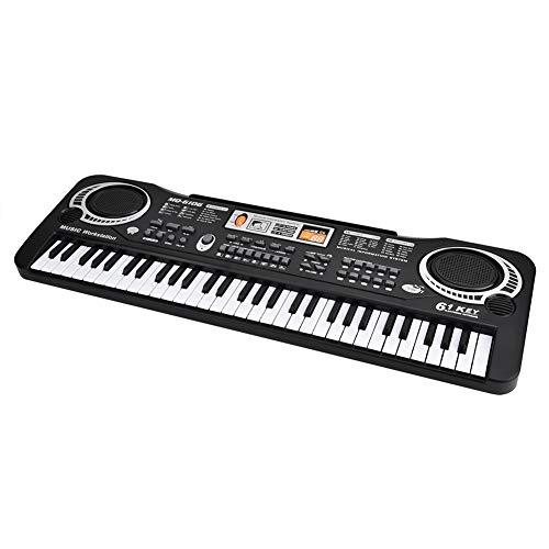 Teclado de piano de música digital de 61 teclas, teclado, piano, instrumento musical electrónico portátil para niños, con micrófono, juguetes de regalo de Navidad para principiantes, niños y niñas