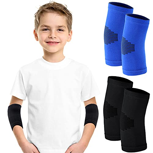 2 Pairs Elbow Sleeve Compression Elbow Sleeve Elbow Compression Brace Gym Arm Sleeve Gym Elbow Support for Men and Women Kids Weight Lifting Sports (Black, Blue)