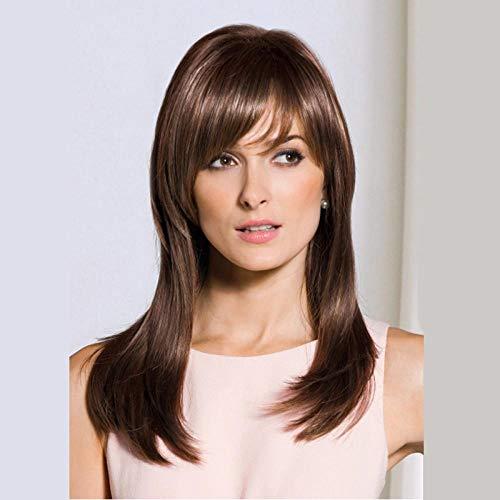 Cheveux longs raides brun foncé, 60cm, cheveux artificiels, soie haute température à fibres chimiques, perruque utilisée par les femmes pour un usage quotidien