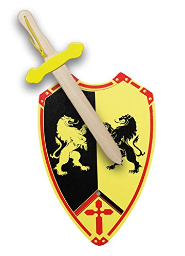 GERILEO Spada più scudo di cavaliere in legno artigianale con balasone – Complemento per giochi e costumi – Disponibile in diversi colori – tonalità nere