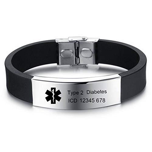 XiXi Personalisierte ID Armband Medizinische Alert Silikon Armbänder Sport Notfallarmband für Herren Wasserdichte Alert Edelstahl Armband Damen Gravur