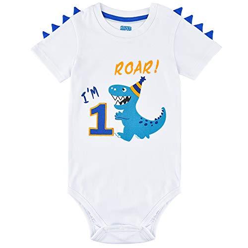 AMZTM Dinosaurio 1 año Cumpleaños Bodysuit Body de Manga Corta para Bebés Niños Dino 1er Cumpleaños Ropa de Bautizo Baby T-Rex Impreso Algodón Romper (Blanco, 90)