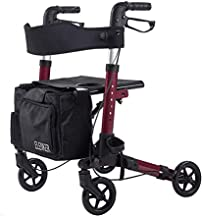 """ELENKER Lightweight Rollator Walker, Foldable Compact Stable Rolling Walker with Seat, Detachable Storage Bag, Red (fits 4'9""""-5'10"""")"""