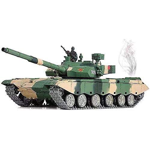 YSKCSRY Tanque 3899A De Simulación A Escala 1/16, Tanque De Control Remoto Con Orugas De Metal Con Radio De 2.4G, Vehículo Militar Todoterreno RC, Efecto De Humo Simulado, Efecto De Sonido Y Luz, Tanq