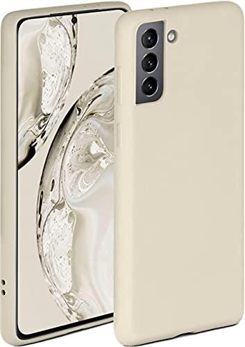 ONEFLOW Soft Hülle kompatibel mit Samsung Galaxy S21 Hülle aus Silikon, erhöhte Kante für Displayschutz, zweilagig, weiche Handyhülle - matt Creme
