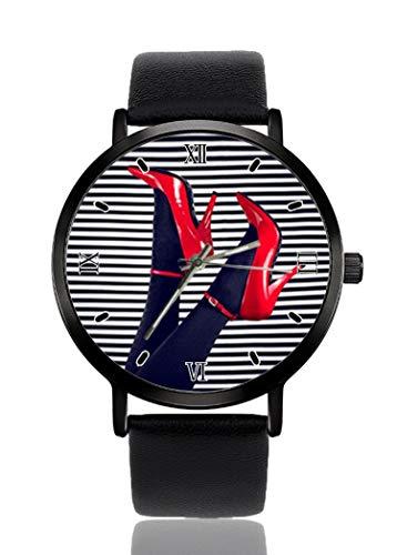 Reloj de Pulsera Sexy con Tacones Altos y Rayas Blancas para Hombres y Mujeres, Correa de Piel Casual, analógico, de Cuarzo, Unisex, de Moda