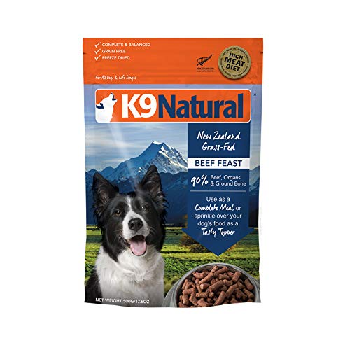 Freeze Dried Dog Food Or Topper By K9 Natural - Perfect Grain Free, Healthy, Hypoallergenic Limited Ingredients Booster For All Dog Types - Raw, Freeze Dried Mixer - Beef 17.6Oz Pack