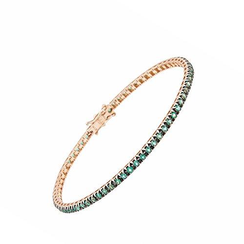 Maga Diamonds International - Bracciale Tennis elegante da Donna in Oro Rosa 18 Kt - Tit. 750/1000 con Smeraldi verdi (Berilli Naturali) Ct.1.35 - Montatura morbida a Griffe