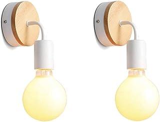Lámparas de pared Weiss de madera clara espejo faros Modern lámpara del espejo 2-quemador baño de hierro interior maquillaje pared radiador luz paredes pared giratoria ajustable con la luz (2 piezas)