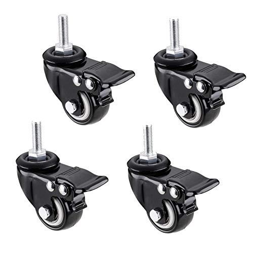 4 ruedas giratorias para muebles de alta resistencia, con vástago roscado de bloqueo, ruedas giratorias de poliuretano, con vástago de freno roscado M8/M10/M12 x 25 mm, 2 pulgadas (M12)