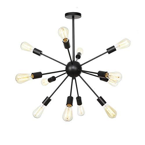 FACAIA Lámpara de araña Sputnik Negra, lámpara de Techo Industrial Moderna, lámpara Colgante de Bronce frotado con Aceite, lámparas de araña Modernas para Cocina, Comedor, Dormitorio, 12 Luces,