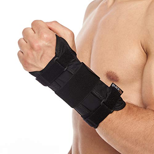 Carpal Tunnel Wrist Brace by BraceUP® with Metal Wrist Splint for Hand and Wrist Support and Tendonitis Arthritis Pain Relief - for Men and Women (S/M, Left Hand)