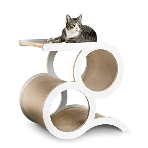 CanadianCat Company ®   Kratzmöbel Montreal mit 2 Ringen - Beiger Teppich - der Designer Kratzbaum auch für große Katzen