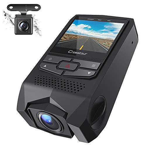 Crosstour Dual Dashcam Auto Vorne und Hinten FHD 1080P Mini Autokamera mit G-Sensor, Loop-Aufnahme,...