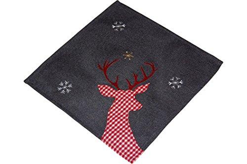 Tischdecke Weihnachten 30x30 cm eckig anthrazit Hirsch rot weiß kariert nordisch Landhaus Advent (Deckchen 30x30 cm)