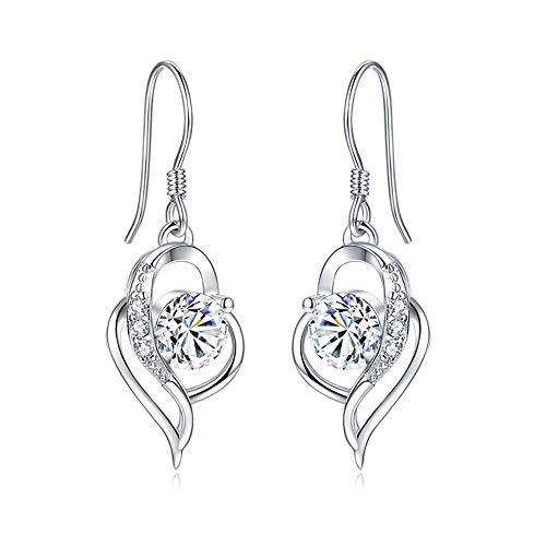 Shuxin Silver Dangle Drop Earrings for Women, 925 Sterling Heart Earrings, with White AAA Cubic Zirconia, Hypoallergenic Jewellery for Sensitive Ears, Suitable for Women Girls, Come in Jewellery Box
