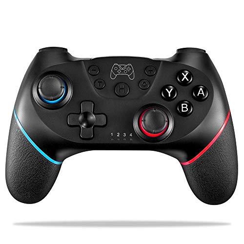 FONCBIEN Controlador Inalámbrico para Nintendo Switch, Interruptor Inalámbrico Gamepad Bluetooth Joypad Motor Incorporado para Nintendo Switch Console, Gyro Axis Dual Shock (Nero)