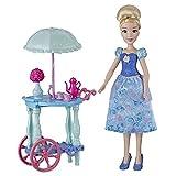 Disney Princess Juego de Carrito de té de Cenicienta con muñeco de Cenicienta, Carrito, Tazas de té, Tetera, Juguete para niñas de 3 años en adelante