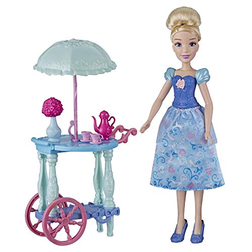 Disney Princess Cinderella's Tea Trolley Playset with Cinderella Doll, Trolley, Tea Cups, Tea Pot, Toy for Girls 3 and Up