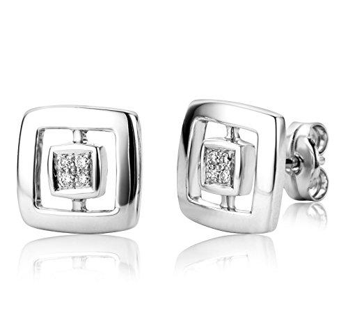 Miore Schmuck Damen 0.05 Ct Diamant moderne Ohrstecker mit 8 Brillanten Ohrringe aus Weißgold 18 Karat / 750 Gold