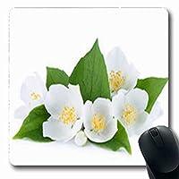 マウスパッド香り花ジャスミン葉芽自然芽長方形形状7.9 X 9.5インチ長方形ゲームマウスパッド滑り止めラバーマット