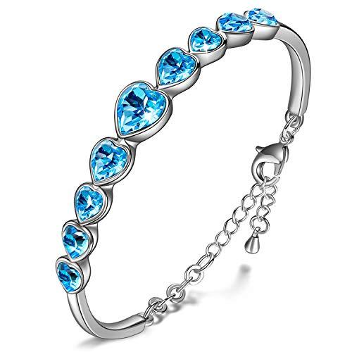 Kami Idea Regalos Dia de la Madre Mujer Pulsera Amor para Siempre Brazalete Azul Cristales de Swarovski Regalos de Madres Joyeria para Aniversario Cumpleaños Ella Su Mamá Chicas Dama Abuela Novia