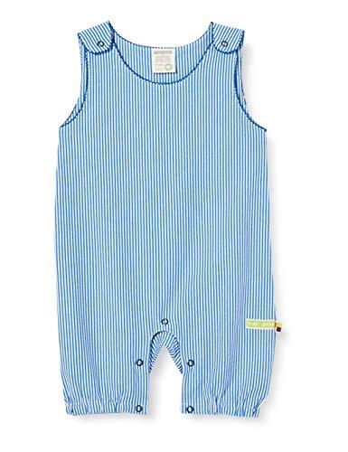 loud + proud Baby-Jungen Striped Short Overall Organic Cotton Strampler, Blau (Cobalt Cob), (Herstellergröße: 62/68)