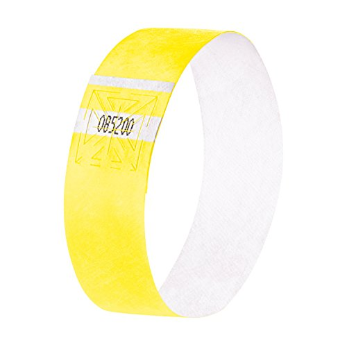 SIGEL EB218 120 Pulseras de identificación y control para eventos, personalizables, Super Soft 25,5 x 2,5 cm, amarillo fosforescente