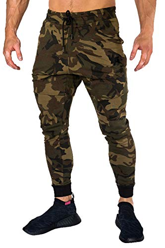 YoungLA Joggers Men Slim Fit Sweatpant Gym Workout Zipper Pocket 202 Camo Green Large
