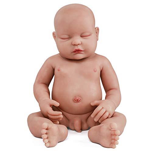 Vollence 46 cm Realistische Schlafende Reborn Babypuppe, PVC-Frei, Augen Geschlossen, Echte Ganzkörper-Silikon Baby Puppe, Handgemachte Lebensechte Soft-Silikon Baby-Puppe mit Kleidung - Junge