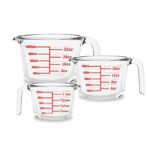 Luvan Vasos medidores de vidrio Juego de 3 (0.25L, 0.5L, 1L) Jarras medidoras con agarradera y pico con taza de medición de ml y oz