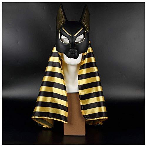Wsjdmm Dios patrón Egipcio Prank Props Accesorios for la Cabeza Pelucas Máscara Divertida El Dios de la Muerte Halloween Máscara de Anubis Cos Masquerade Performance Pañuelo en la ca