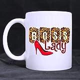 Thorea Tazza da tè/caffè in ceramica bianca Design alla moda Leopardo 'BOSS Lady' 11 OZ / 100% tazza da caffè/tè in ceramica personalizzata Bianco - Ufficio/Casa/Negozio Migliore scelta regalo