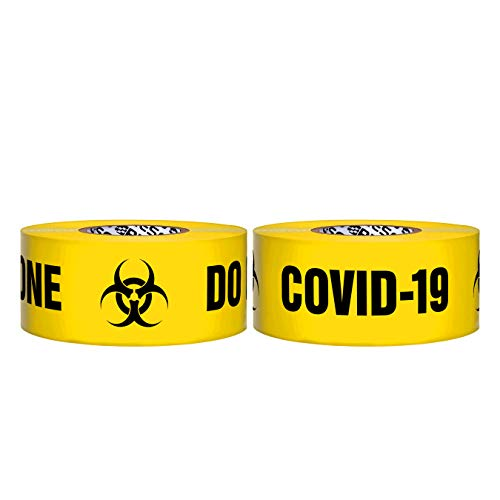 Presco Premium 3 Mil Thick Barricade Tape: 3 in x 1000 ft. (Yellow with Black'QUARANTINE ZONE DO NOT ENTER COVID-19' printing)